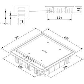 15640 Trayco FS-HC8-CE-SQ-260-PA9011 Klappdeckel quadr. f. Teppich schwarz Produktbild