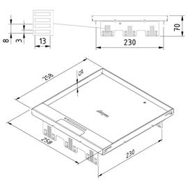 15642 Trayco FS-HC15-SQ-260-SS304 Klappdeckel quadratisch edelstahl Produktbild