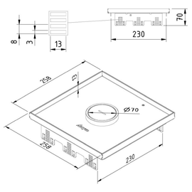 15776 Trayco FS-TF13-SQ-260-WP-SS304 Deckel quadr. m. Kabelauslass edelstahl Produktbild