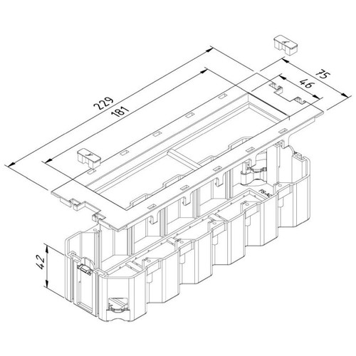 15646 Trayco FS-AC-HO-260-4-45-PA9011 Gerätebecher f. Modul 45 schwarz Produktbild Front View L