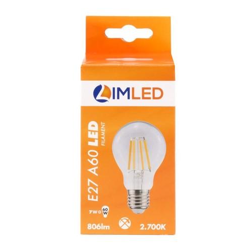 LIMLED Filament LED Lampe 7W klar E27 806lm A60 2700K Produktbild Additional View 1 L