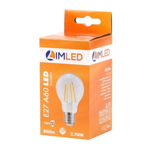 LIMLED Filament LED Lampe 7W klar E27 806lm A60 2700K Produktbild Additional View 2 L