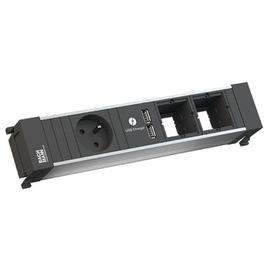 916.0628 Bachmann Power Frame 1xUTE 1xUSB Charger 2xABD Strom 0,2m GST18 Produktbild